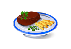 7. Vyprážaný bravčový rezeň(125g), zeleninová obloha(80g) [1, 3]