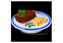 12. Kebab tanier-kebab mäso, hranolky, zel.obloha, dresing, 150g/200g